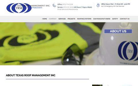 Screenshot of About Page texasroof.com - Premier Commercial Roofing | Texas Roof Management INC - captured Oct. 21, 2017