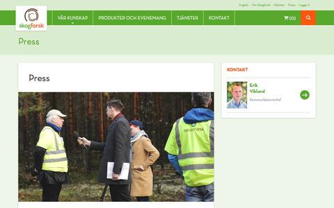 Screenshot of Press Page skogforsk.se - Press - Skogforsk - captured Jan. 25, 2018