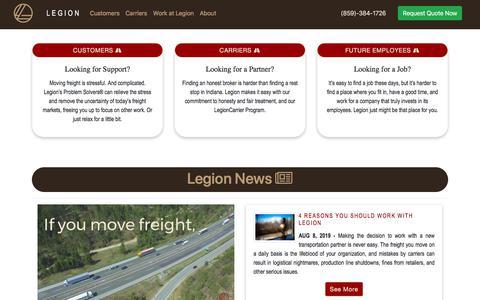 Screenshot of Home Page jointhelegion.com - Legion Logistics - captured Aug. 29, 2019