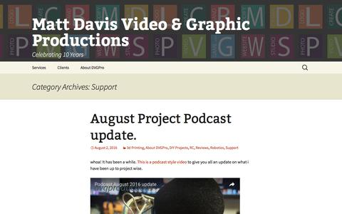 Screenshot of Support Page dvgpro.com - Support | Matt Davis Video & Graphic Productions - captured Nov. 23, 2016