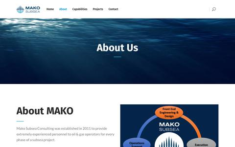 Screenshot of About Page makoss.com - Subsea Systems | MAKO SUBSEA - captured Sept. 29, 2017