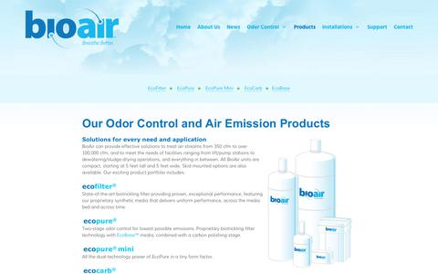 Screenshot of Products Page bioairsolutions.com - Our Odor Control and Air Emission Products | BioAir Solutions, LLC - captured Oct. 10, 2017