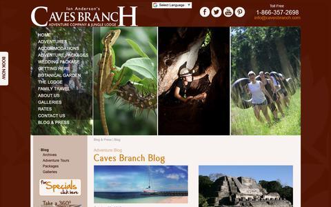 Screenshot of Blog cavesbranch.com - Belize Adventure Travel Blog - captured Oct. 11, 2018