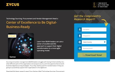Screenshot of Landing Page zycus.com - Technology Sourcing, Procurement and Vendor Management Need a Center of Excellence to Be Digital-Business-Ready - captured Oct. 24, 2017