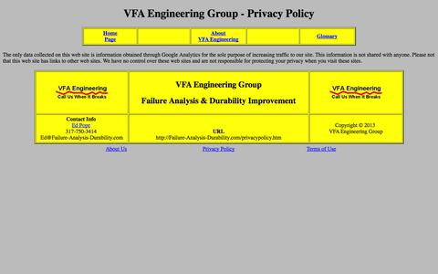 Screenshot of Privacy Page failure-analysis-durability.com - VFA Engineering Group - Privacy Policy - captured Oct. 7, 2014