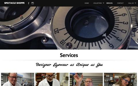 Screenshot of Services Page spectacleshoppe.com - Services - captured April 25, 2017