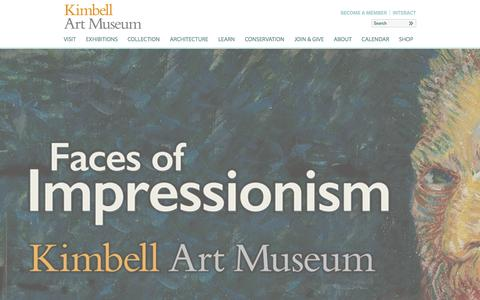 Screenshot of Home Page kimbellart.org - Kimbell Art Museum | Kimbell Art Museum - captured Sept. 25, 2014