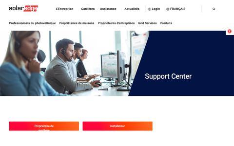 Screenshot of Support Page solaredge.com - Centre d'assistance | SolarEdge | Un leader mondial de l'énergie intelligente - captured July 15, 2019