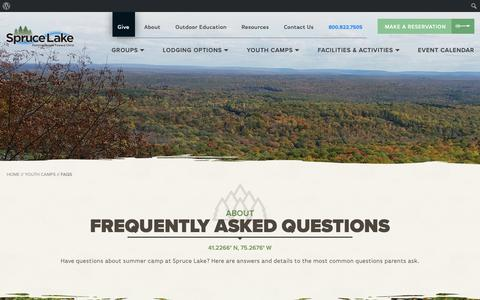 Screenshot of FAQ Page sprucelake.org - FAQs for Campers | Spruce Lake Retreat - captured Oct. 20, 2018