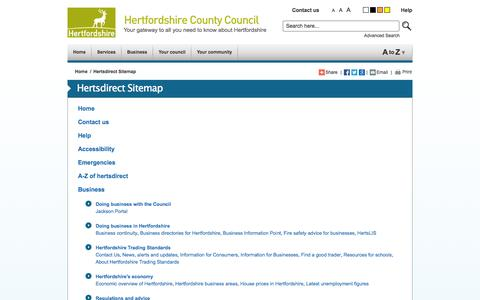 Screenshot of Site Map Page hertsdirect.org - hertsdirect.org Hertsdirect Sitemap - captured Sept. 22, 2014