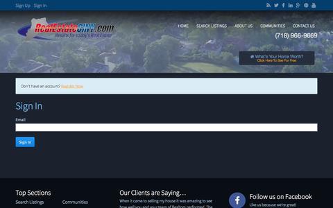 Screenshot of Login Page realestatesiny.com - Sign In - captured Nov. 2, 2014