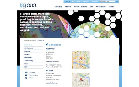 Screenshot of Contact Page ipgroupplc.com - Contact us – IP Group plc - captured Sept. 30, 2014