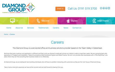 Screenshot of Jobs Page diamond-group.net - Diamond Group   Careers at Diamond Group - captured Feb. 12, 2018