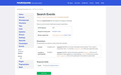events/search | API Endpoints