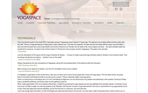 Screenshot of Testimonials Page yogaspace.net - Yogaspace: Toronto Yoga Studio | Testimonials - captured Jan. 25, 2017