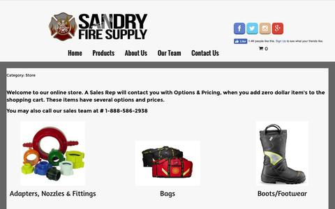 Screenshot of Products Page sandryfire.com - Products - captured Nov. 18, 2016