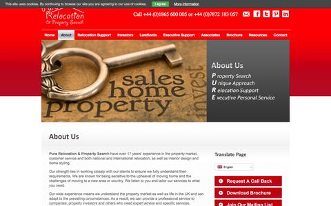 Screenshot of About Page purerelocation.co.uk - About Us - captured Oct. 3, 2014