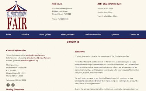 Screenshot of Contact Page Maps & Directions Page etownfair.com - E-Town Fair: Contact - captured Oct. 22, 2014