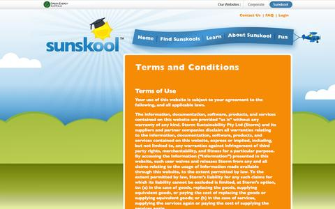 Screenshot of Terms Page sunskool.com - Sunskool - National Solar in Schools (NSSP) - Terms and Conditions - captured Oct. 7, 2014