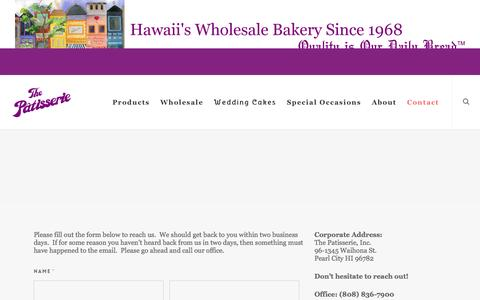 Screenshot of Contact Page thepatisserie.com - Contact - The Patisserie - captured April 10, 2017