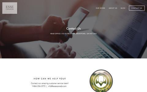 Screenshot of Contact Page essecanada.com - Contact Us — ESSE Canada - captured July 11, 2017