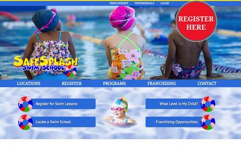 Screenshot of Home Page safesplash.com - SafeSplash Swim School   Swimming Lessons for Kids & Children Indoor Pool Classes   Swim Classes - captured Sept. 12, 2015