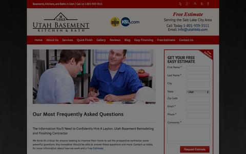 Screenshot of FAQ Page utahbkb.com - Frequently Asked Questions | Layton, Utah | Basement Finishing - captured Oct. 6, 2014