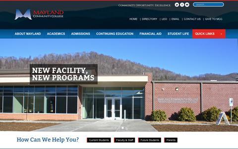 Screenshot of Home Page mayland.edu - Mayland - captured Nov. 27, 2016