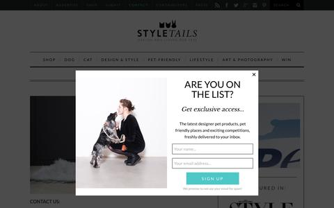 Screenshot of Contact Page styletails.com - Contact StyleTails - The Luxury Pet Magazine & Store  | StyleTails - captured Sept. 14, 2016