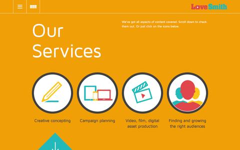 Screenshot of Services Page lovesmithmedia.com - Services - lovesmithmedia - captured Feb. 1, 2016