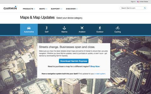 Screenshot of Maps & Directions Page garmin.com - Maps & Map Updates | Garmin | United States - captured Oct. 4, 2017