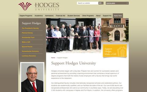 Screenshot of Support Page hodges.edu - Support Hodges University - captured Sept. 22, 2014