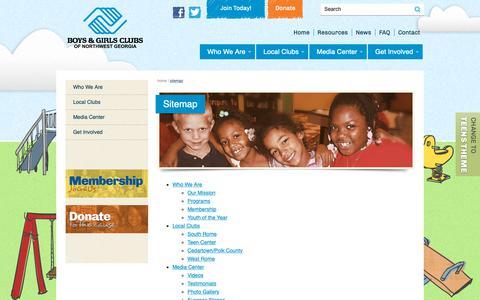 Screenshot of Site Map Page bgcnwga.org - Sitemap | Boys & Girls Clubs of Northwest Georgia - captured Oct. 6, 2018