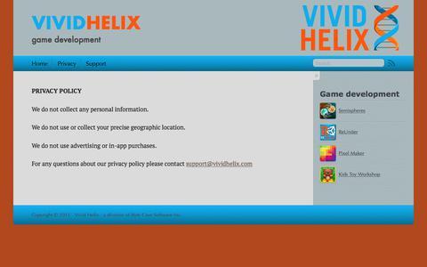 Screenshot of Privacy Page vividhelix.com - Vivid Helix - captured Nov. 9, 2017