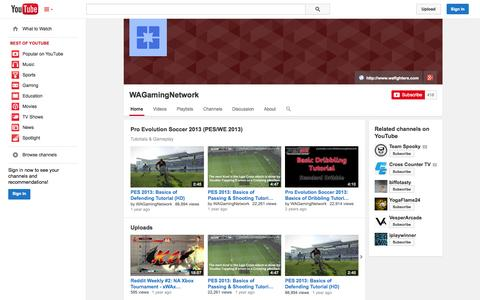 Screenshot of YouTube Page youtube.com - WAGamingNetwork  - YouTube - captured Oct. 26, 2014