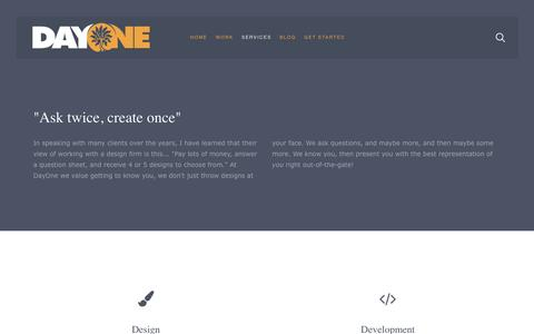 Screenshot of Services Page dayonebrands.com - Services Overview » DayOne - captured April 18, 2016