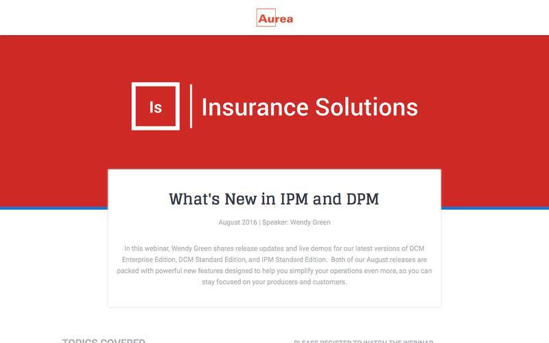 Webinar Recording: DPM and IPM August 2016 Releases | Aurea
