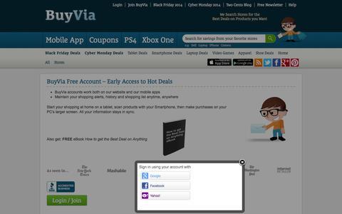 Screenshot of Login Page buyvia.com - BuyVia Free Account – Early Access to Hot Deals - BuyVia - captured Nov. 1, 2014