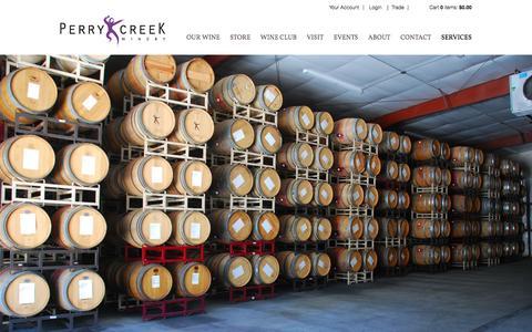 Screenshot of Services Page perrycreek.com - Perry Creek - Custom Crush - captured Nov. 4, 2016