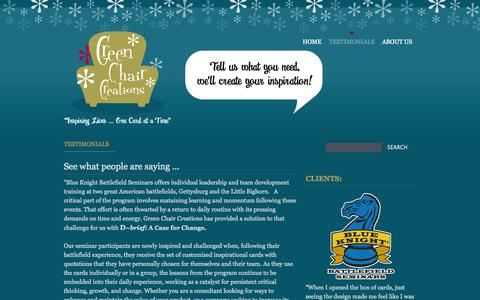 Screenshot of Testimonials Page publishpath.com - Testimonials | * Green Chair Creations * - captured Sept. 17, 2014