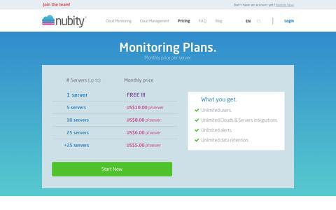 Screenshot of Pricing Page nubity.com - Nubity - captured Dec. 5, 2016
