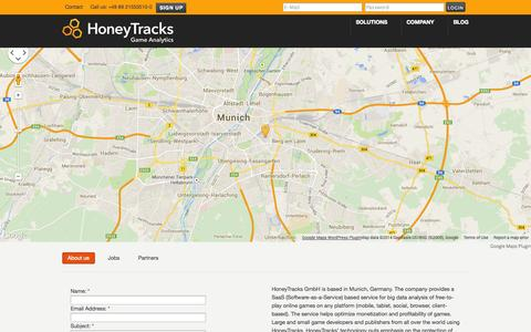 Screenshot of Contact Page honeytracks.com - Contact –  HoneyTracks – Game Analytics - captured Sept. 25, 2014