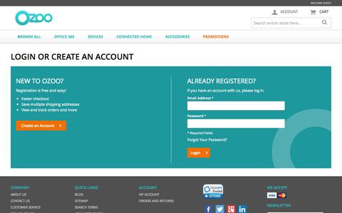 Screenshot of Login Page ozoo.com - Ozoo.com - Cloud and technology solutions for the home and small business - captured Nov. 5, 2014