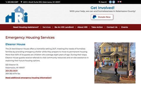 Screenshot of Services Page housingresourcesinc.org - Short term shelter, emergency shelter, homelessness, housing help - captured Dec. 8, 2018