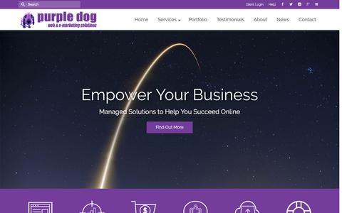Screenshot of Home Page purpledogdesign.com - Managed Online Services, Websites and eMarketing ~ Purple Dog Design - captured Nov. 13, 2016
