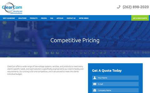 Screenshot of Pricing Page clearcominc.com - Competitive Pricing | ClearCom Inc. - captured July 18, 2018