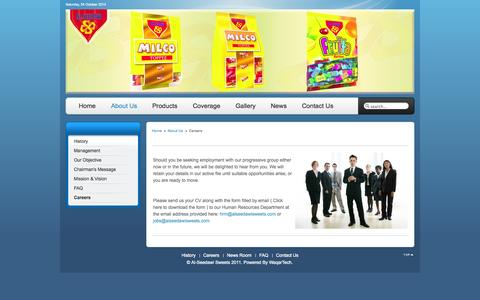 Screenshot of Jobs Page alseedawisweets.com - Al-Seedawi Sweets - Careers - captured Oct. 4, 2014