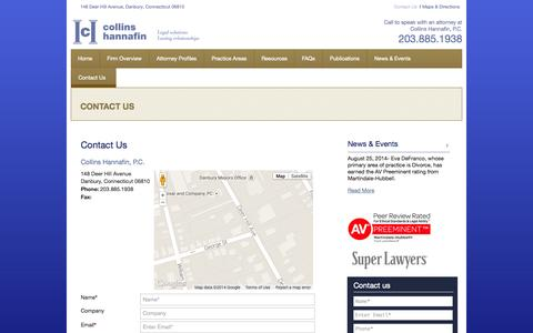Screenshot of Contact Page chgjtlaw.com - Contact Us | Danbury, Connecticut Law Firm | Collins Hannafin, P.C. - captured Oct. 3, 2014