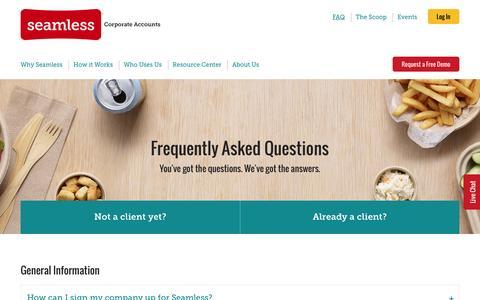 Screenshot of FAQ Page seamless.com - FAQ | Seamless Corporate Accounts - captured Nov. 23, 2016