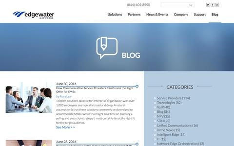Screenshot of Blog edgewaternetworks.com - Edgewater Networks Blog - captured July 3, 2016